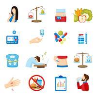Coleção de ícones plana de sinais de sintomas de diabetes