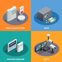home security isometric 4 icons square
