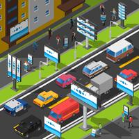 Street Advertising Isometric Illustration