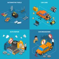 Insieme concettuale isometrico dell'icona di servizio dell'automobile