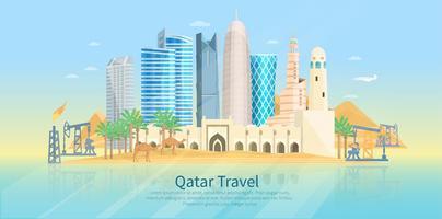 Cartel plano del horizonte de Qatar