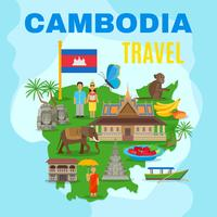 Kambodja Cultural Travel Map Flat Poster