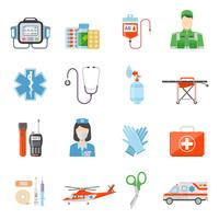 Paramedic Flat Colored Decorative Icons