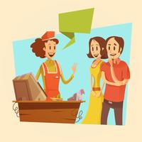 Saleswoman And Customers Retro Illustration