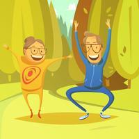 Senior People And Gymnastics Illustration