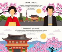 Japanese Culture 2 Horizontal Banners Set  vector