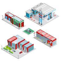 Composizione isometrica di edifici centro servizi auto
