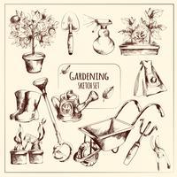 Conjunto de bosquejo de jardinería