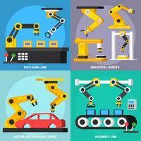 Conjunto de iconos de 2x2 ortogonales de transportador de automatización