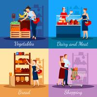 Shopping Departments In Supermarket   vector