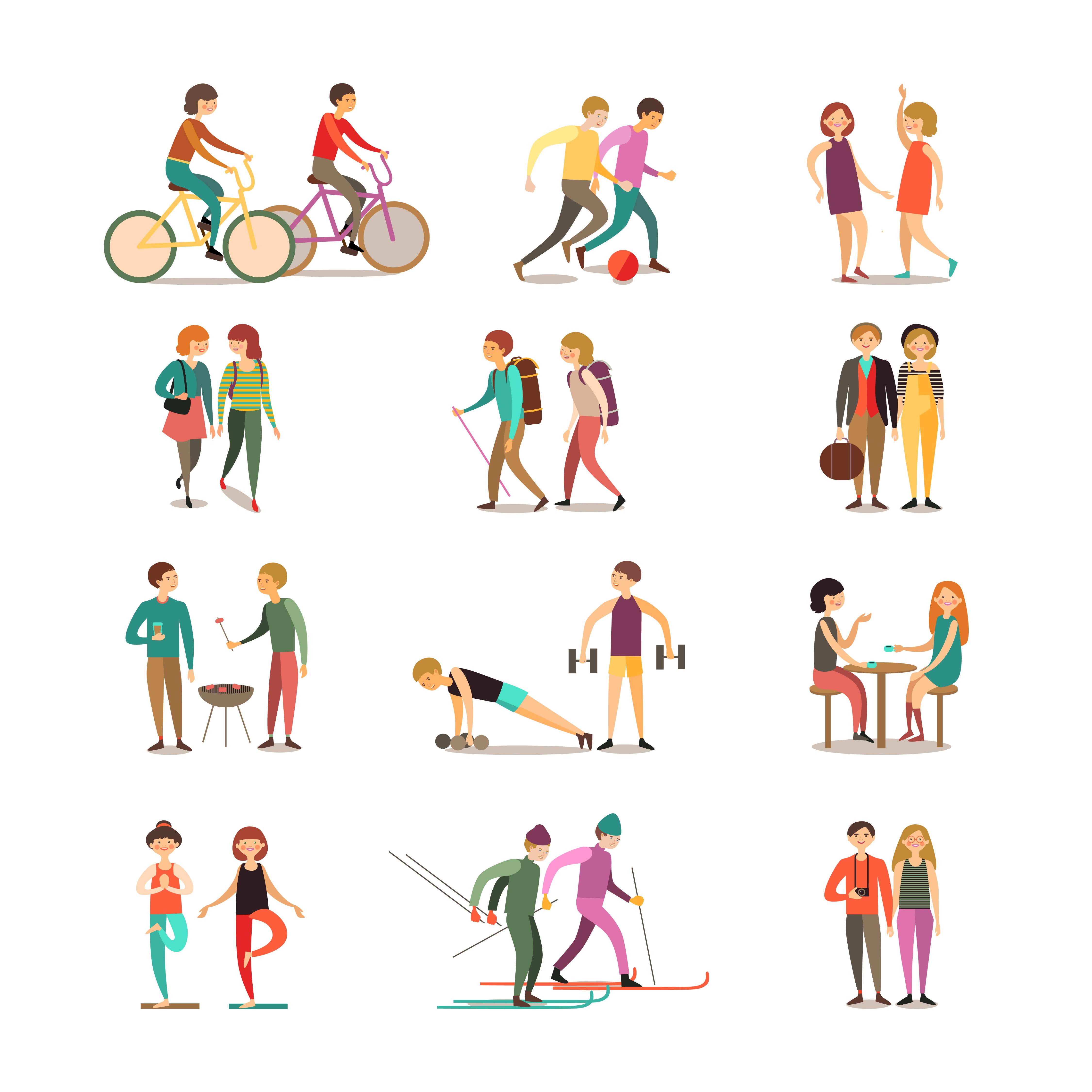 Friends And Hobbies Decorative Icons Set Download Free Vectors Clipart Graphics Vector Art
