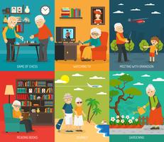 Old People 6 Flat icons Banner