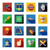 Conjunto de ícones de sombra de críquete