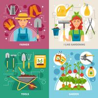 Gardening Concept 4 icons Square Banner