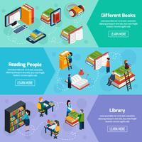 Banners horizontais isométricos de biblioteca