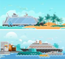 Cruise Vacation Flat Horizontal Banners Set
