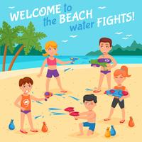 Beach Water Fights Illustration
