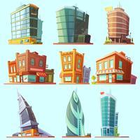 Utmärkande moderna och gamla byggnader ikoner uppsättning