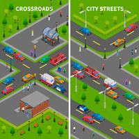 Street Traffic Isometric Vertical Banners