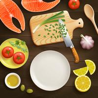 Flat Lay Cooking Dark Background Image