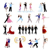 Conjunto de iconos de personas bailando