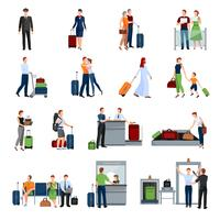 People In Airport Flat Color Icons