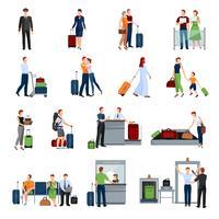 Leute in den Flughafen-flachen Farbikonen