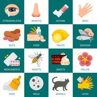 Allergi ikoner Set