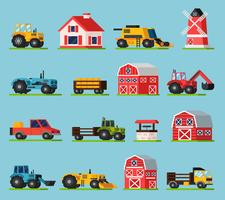 Farm Orthogonal Flat Icons Set