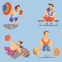 Gym Cartoon Icons Set
