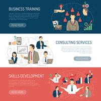 Business Training Consulting Horisontell Banners Set