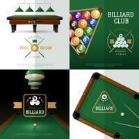 Conjunto de iconos de concepto de billar