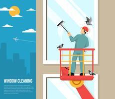 Lavadora de ventanas en el trabajo ilustración plana