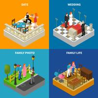 Family 4 Isometric Icons Square Banner