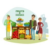 Fruit And Vegetables Seller Illustration