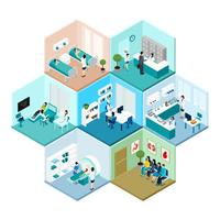 Hospital Hexagonal Tessellated Pattern Isometric Composition  vector