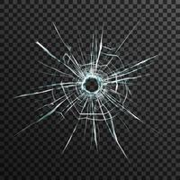 Agujero de bala en vidrio transparente