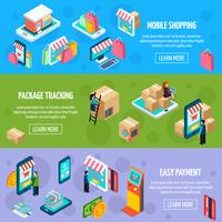 Mobile Shopping Isometric Horizontal Banners