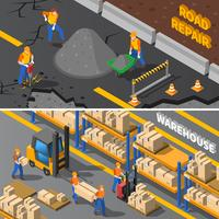 Workers Isometric Banners Set