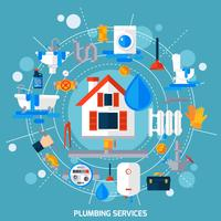 Plumbing Service Concept Circle Composition Poster