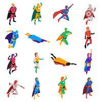 Set di icone isometriche di carattere popolare supereroe