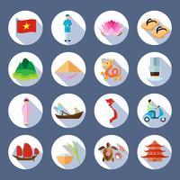 Vietnamese Symbols Flat Round Icons Set
