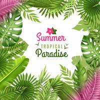 Tropical Foliage Decorative Background Frame  vector