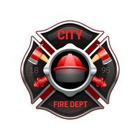 Fire Department Emblem Realistic Image Illustration