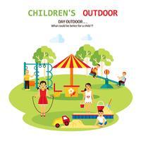 Outdoor Playground Flat Illustration
