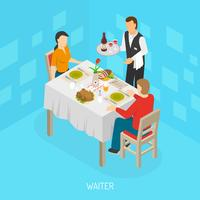 Waiter Serving Customers Isometric Poster vector