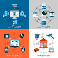 Conjunto de ícones de conceito de segurança em casa