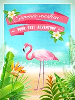 Flamingo Bird Exotic Summer Vacation Poster