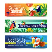 Tropical Cocktail Beach Party Banners Set  vector