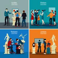 Gente en museo y galería 2x2 concepto de diseño